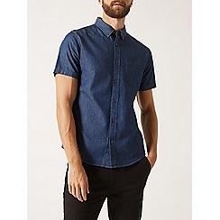 Burton - Blue dark wash short sleeve denim shirt