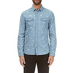 Burton - Blue splatter long sleeve denim shirt