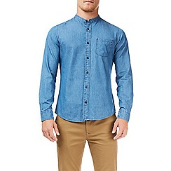 Burton - Blue mid wash long sleeves grandad denim shirt