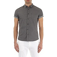 Burton - Short sleeve light grey stretch casual shirt
