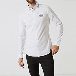 Burton - White slim fit long sleeve embroidered shirt