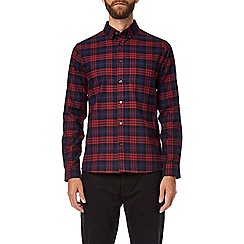 Burton - Burgundy and navy checked long sleeve shirt