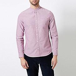 Burton - Magenta Long Sleeve Grandad Collar Oxford Shirt
