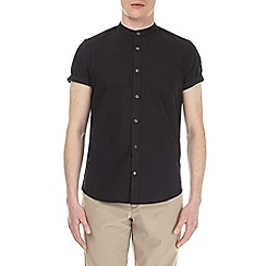 Burton - Black short sleeve grandad oxford shirt