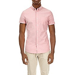 Burton - Pink short sleeve muscle fit oxford shirt