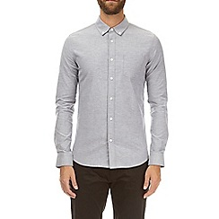 Burton - Light grey long sleeve grandad oxford shirt