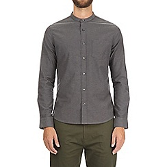 Burton - Charcoal long sleeve grandad oxford shirt