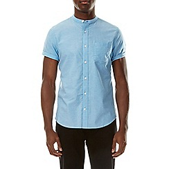 Burton - Turq short sleeve grandad collar shirt