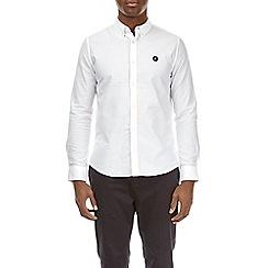 Burton - White long sleeve black embroidered shirt