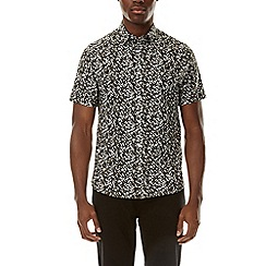 Burton - Khaki short sleeve abstract leaf print shirt
