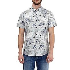 Burton - Grey short sleeve humming leaf print shirt