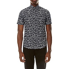 Burton - Navy short sleeve abstract leaf shirt
