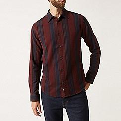 Burton - Burgundy ombre striped long sleeve shirt