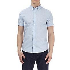 Burton - Teal blue short sleeve floral shirt