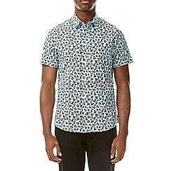 Burton - Teal short sleeve dash print shirt