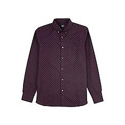 Burton - Burgundy long sleeve geometric print oxford shirt