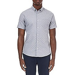 Burton - Grey short sleeve arrow print Oxford shirt