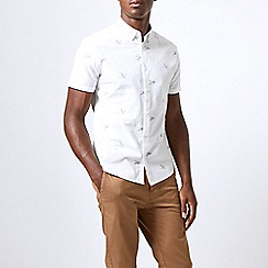 Burton - White short sleeve goose print shirt