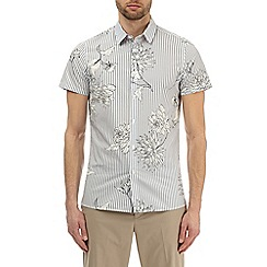 Burton - Grey short sleeve bold floral striped shirt