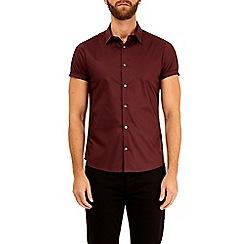 Burton - Burgundy short sleeve stretch skinny fit shirt