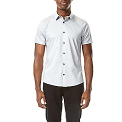 Burton - Light grey stretch skinny fit short sleeve shirt