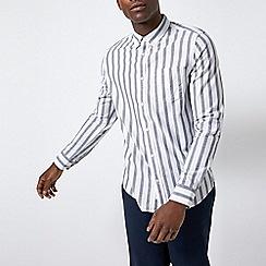 Burton - White long sleeve bold striped shirt
