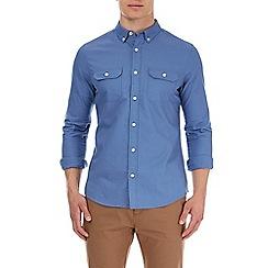 Burton - Roll sleeve blue military Oxford shirt