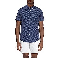 Burton - Short sleeve navy cross textured print shirt