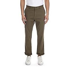 Burton - Khaki Logan straight fit stretch chinos