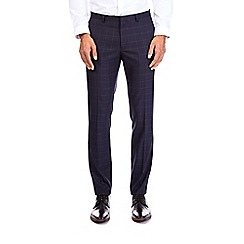 Burton - Navy grid check skinny fit trousers