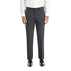 Burton - Navy regular fit stretch checked trousers