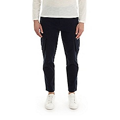 Burton - Navy tapered fit stretch cargo trousers