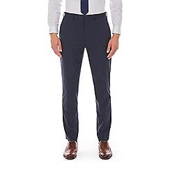 Burton - Navy mini check slim fit stretch trousers