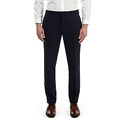 Burton - Navy texture slim fit stretch trousers