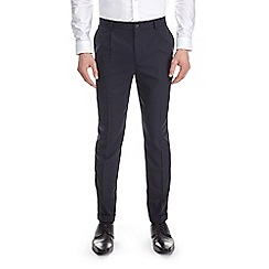 Burton - Navy tapered fit side zip pleated trousers