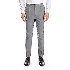 Burton - Grey tapered fit pleat side zip trousers