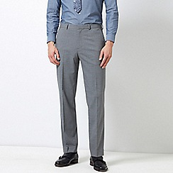 Burton - Grey Tailored Fit Checked Stretch Trousers