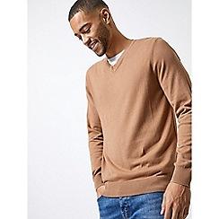 Burton - Camel v-neck jumper
