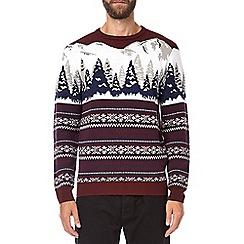 Burton - Burgundy mountain Christmas jumper