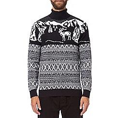 Burton - Navy Christmas roll neck jumper