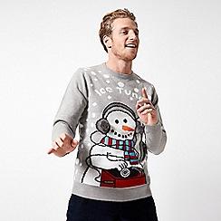 Burton - Light grey ice theme Christmas jumper