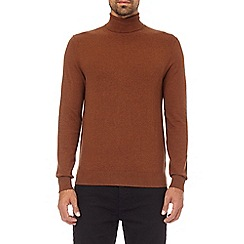 Burton - Caramel fine gauge roll neck jumper