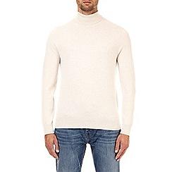 Burton - Ecru fine gauge roll neck jumper