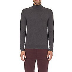 Burton - Charcoal fine gauge roll neck jumper