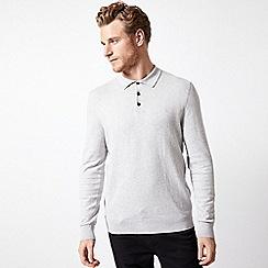 Burton - Grey long sleeve knitted polo shirt