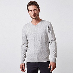 Burton - Grey space dye v-neck jumper