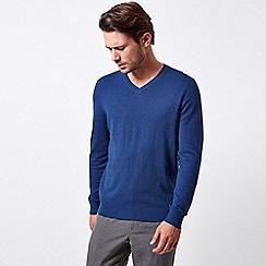 Burton - Navy space dye v-neck jumper