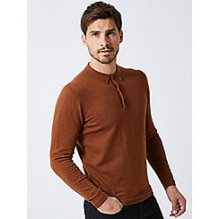 Burton - Caramel long sleeve polo shirt