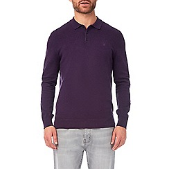Burton - Plum fine gauge long sleeve polo shirt