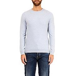 Burton - Blue patterned crew neck knitted jumper